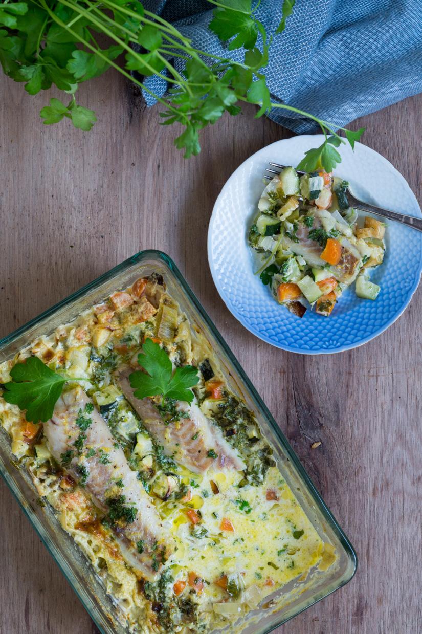Fiskefad Med Sej Grønt Og En Citrus Hvidvins Flødesauce Julie Bruun