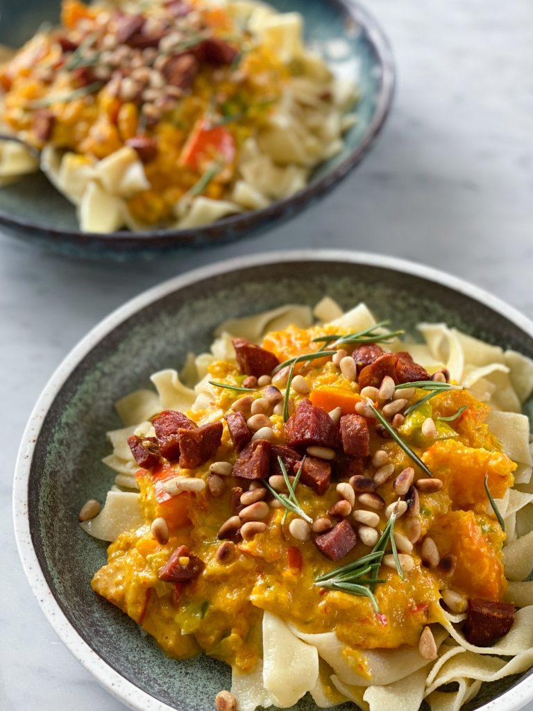 pasta med græskarsauce