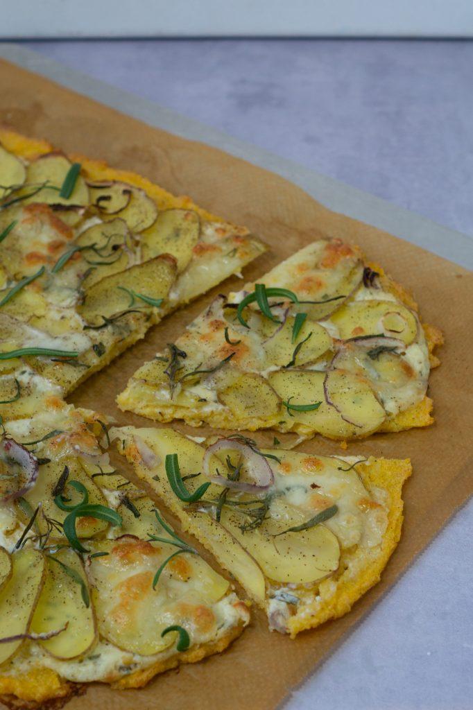 polentapizza med kartoffel